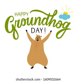 Groundhog Day illustration with title and cartoon yawning groundhog. Happy Groundhog Day poster.