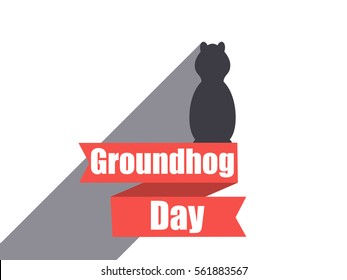 Groundhog Day. Marmot in a flat style with shadow. The inscription on the tape. Vector illustration