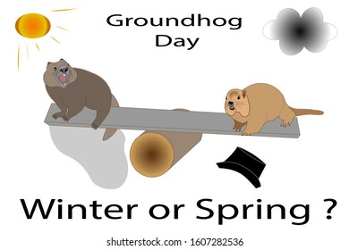 Groundhog day postcard. Two groundhogs on the swing. One of them see his shadow and is frightened, another doesn't and it's happy. Text: Winter or Spring?