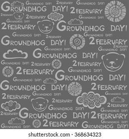 Groundhog Day. Seamless pattern. Vector Illustration