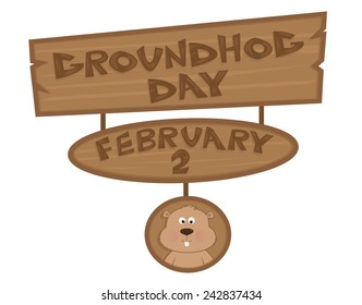 Groundhog Day Sign - Cartoon Groundhog Day Sign with cute groundhog at the bottom. Eps10