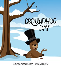 Groundhog Day snowy scene EPS 10 vector stock illustration