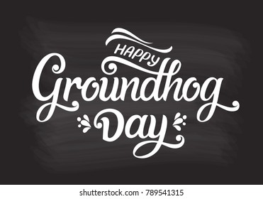 Groundhog Day typography vector design for greeting cards and poster. Groundhog Day Lettering greeting. Design template celebration. Vector illustration.