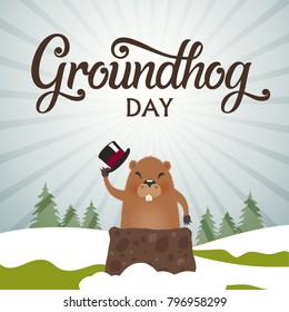 Groundhog Day typography vector design for greeting cards and poster. Lettering greeting. Vector illustration.