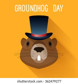 Groundhog in hat. Groundhog day funny cartoon card template.