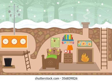 Groundhog House - Detailed illustration of a cute groundhog's weather station house with a groundhog waking up from his sleep on February second. Eps10