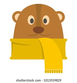 Groundhog in scarf icon. Flat illustration of groundhog in scarf vector icon for web