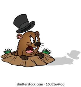 Groundhog Sees his Shadow - A cartoon illustration of a cute Groundhog that sees his shadow.