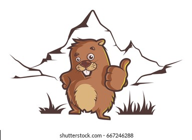 Groundhog. Vector illustration. Isolated on a white background.