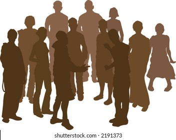 A group of 12 funky young friends. Each is a complete silhouette