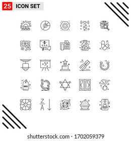 Group of 25 Lines Signs and Symbols for romance; heart; finance; plumbing; nut Editable Vector Design Elements