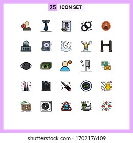 Group of 25 Modern Filled line Flat Colors Set for fashion; accessory; study; accessorize; grain Editable Vector Design Elements