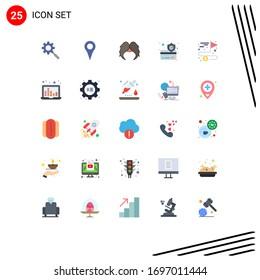 Group of 25 Modern Flat Colors Set for achieving; secure; moustache; payment; men Editable Vector Design Elements