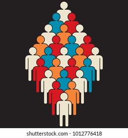 grupo de 25 personas representación de multitud diversa