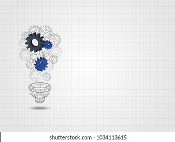 Group of 3d gear formed as lightbulb represents concept of engineering and innovation. Technology Background. Vector illustration.