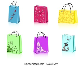 a group of 6 colorful shopping bags with different ornament