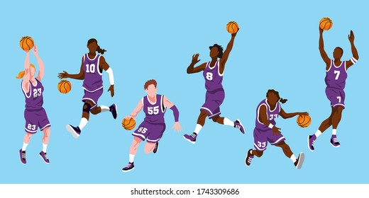 Group of 6 different female basketball players in different playing positions such as bouncing, jumping and throwing the ball. They wear purple shorts and jerseys with white numbers and sneakers.