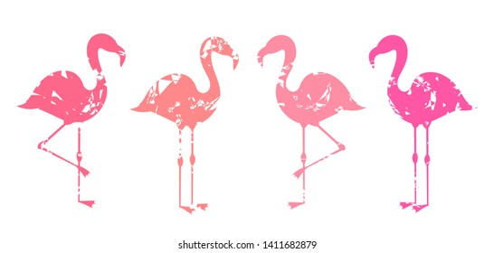 Group of abstract pink flamingos shapes isolated on white background. Vector illustration