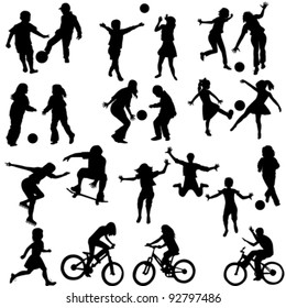 Group of active children, hand drawn silhouettes of kids playing