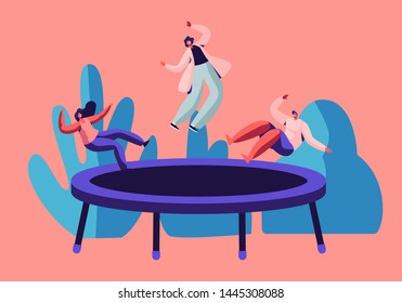 Group of Active Friends Jump and Bouncing on Trampoline Outdoors, Youth Fitness Center, Summer Time Attraction, Fun, Leisure, Sports Acrobatics Training, Entertainment Cartoon Flat Vector Illustration