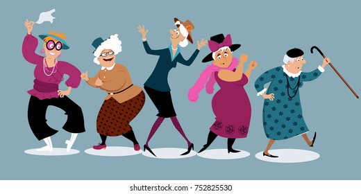 Group of active senior women dancing, EPS 8 vector illustration