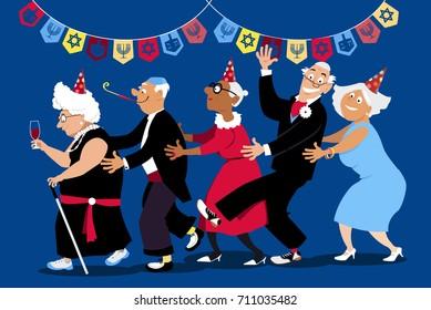 Group of active seniors dancing conga line at Hanukkah party, EPS 8 vector illustration