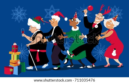998cf7bc5fc1e Group of active seniors dancing conga line at Christmas or New Year party,  EPS 8