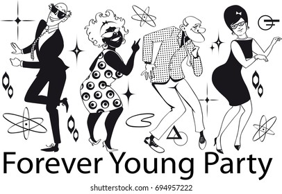 Group of active seniors dressed in 1960th fashion dancing at a Retro Dance Party, EPS 8 vector line art, no white objects, black only9