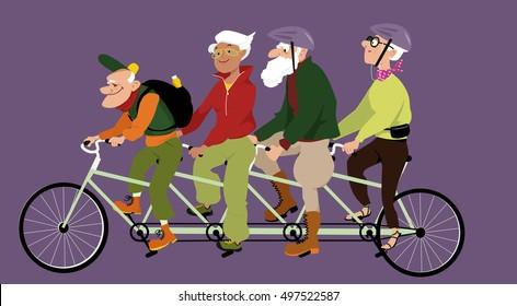 Group of active seniors riding a tandem bike, EPS 8 vector illustration, no transparencies