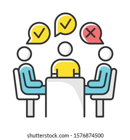 Group administered survey color icon. Public opinion polling. Social research. Feedback. Customer satisfaction. Voting. Sampling. Data collection. Isolated vector illustration