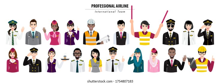 Group of airport crew poses half body banner. Team of professional airline international workers on a white background. Airline staff. Cartoon character design vector