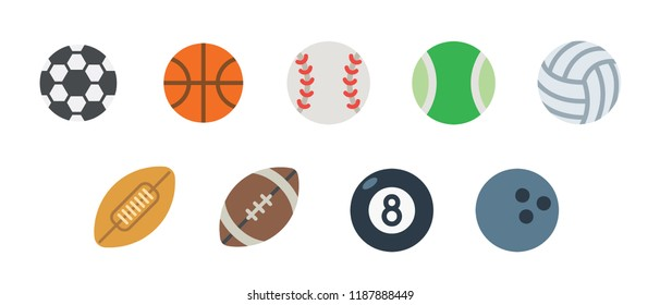 Group of all Ball sports icons set. Rugby, American football tennis, billiards, basketball, golf, volleyball, bowling ball symbols collection.