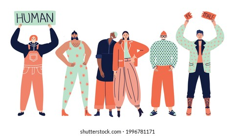 Group of androgynous transgender happy people. Gender neutrality concept, genderqueer. LGBTQ+ friendly society. Pride and freedom concept. Vector hand drawn flat illustration.