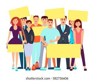 Group of angry people with placards protested. Vector illustration