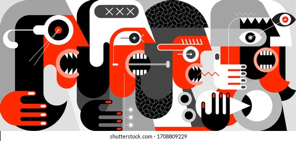 A group of angry people screaming and swearing with someone. A modern art red, black and grey vector illustration.