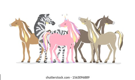 Group of animals. Beautiful cute pink unicorn, zebra and horses. couple of unicorn and zebra in love. Isolated vector illustration