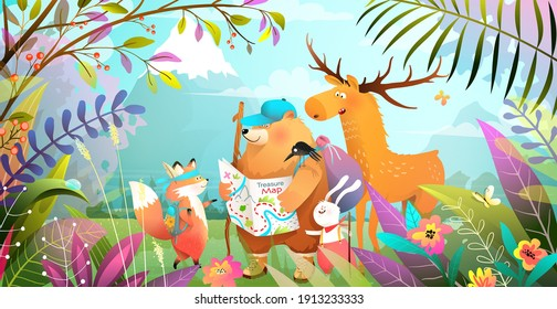 Group of animals friends hiking in magic forest with leaves flowers and mountains. Nature landscape with adventurous bear rabbit fox and moose looking at the map. Vector illustration for kids.