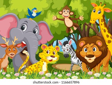 Group of animals in jungle illustration