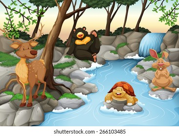 Group of animals relaxing at the river