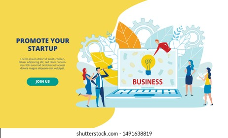 Group Animated Cartoon Characters think about Business Development. Man with Telescope, Laptop, Ready Business Solutions. Modern Flat Illustration. Hand Drawing. Mechanical Parts, Leaves trees.