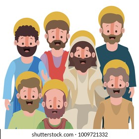 group of apostles in colorful silhouette over white background