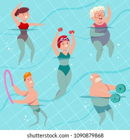 Group aqua aerobics in swimming pool. Young and elderly men and women doing aquagym exercise. Vector cartoon fitness people character isolated on a background. Healthy lifestyle set.