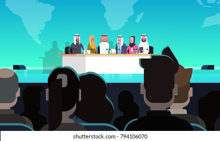 Group Of Arab Business People On Conference Public Debate Interview Concept Official Meeting Of Arabic Politicians In Front of Big Audience Flat Vector Illustration