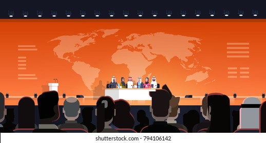 Group Of Arab Business People On Conference Public Debate Interview Over World Map Background Official Meeting Of Arabic Politicians Flat Vector Illustration