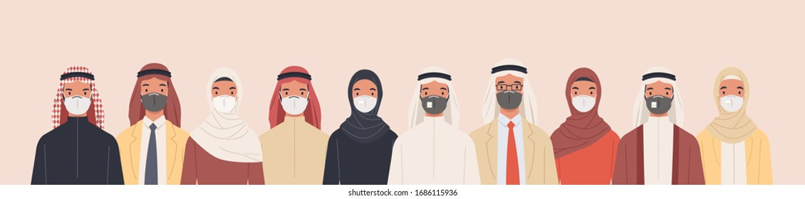 Group of Arab men and women in traditional Islamic clothing wearing medical masks to prevent disease, flu, air pollution, contaminated air, world pollution. Vector illustration in a flat style