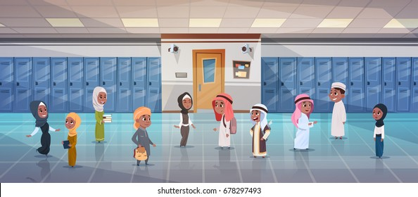 Group Of Arab Pupils Walking In School Corridor To Class Room, Muslim Schoolchildren Flat Vector Illustration