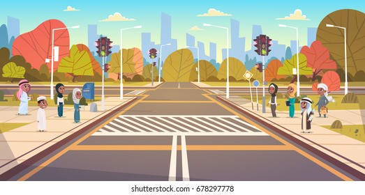 Group Of Arab School Children Waiting For Green Traffic Light To Cross Road On Crosswalk Flat Vector Illustration