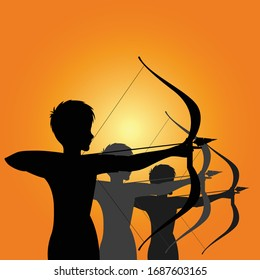Group of Archer Silhouette Vector Illustration for war scenes