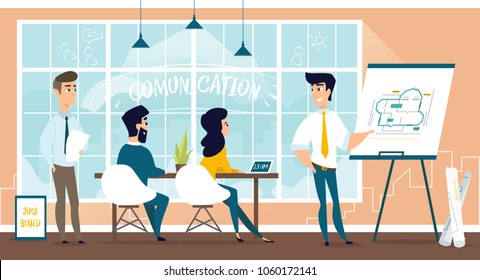 Group of architect engineering plan of new house. Vector illustration of working cartoon characters in coworking studio.
