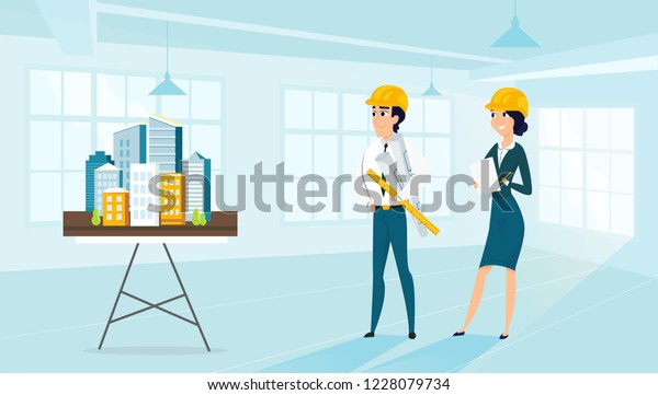 Group Architects City Architecture Layout Vector Stock Vector